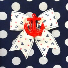 Retro Sailor Doll Anchors and Stars Hair Bow  by PunkUpBettie, $11.00