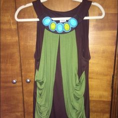 So Cute Dressy Tank with Amazing Detail at Neck Charming Charlie Original. Worn once. Great condition. The neckline detail has beautiful stones/pearls. 95% rayon/5% spandex Charming Charlie Tops Tank Tops