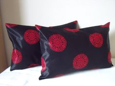 """Oblong CUSHION - HANDMADE, Upcycled, Recycled Black & Red Silk effect Oriental Style Fabric 17.5"""" x 11.25"""" from £6.50"""