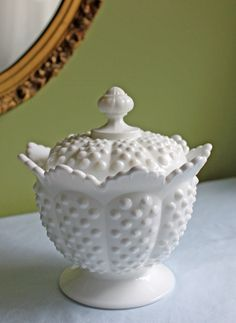 Fenton Footed Bowl with Lid.  Milk Glass by AnythingDiscovered