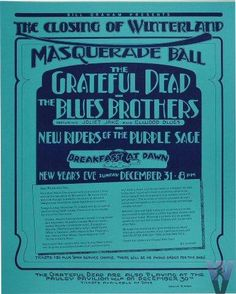 Original concert poster for the Grateful Dead at the Winterland in 1978. 16 3/4 x 20 3/4 inches. Very small ding in top right corner. Design by Randy Tuten