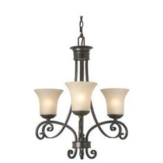 Charming Hampton Bay Essex 3 Light Aged Black Chandelier With Tea Stained Glass  Shades Nice Ideas