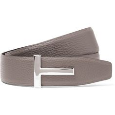 Tom Ford 4cm Grey and Black Reversible Grained-Leather Belt (5.195 HRK) ❤ liked on Polyvore featuring men's fashion, men's accessories, men's belts and men's reversible belt