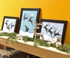 Reindeer Games  Propped on the mantel, lively holiday pictures put the season in motion. A few snips and punches of paper are all it takes to replicate these prancing reindeer.