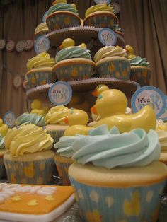 Yellow Rubber Ducky Baby Shower Cupcake Tower