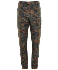 BURBERRY PRORSUM - Linen-Blend Camouflage Trousers