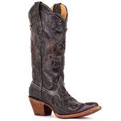 Corral Women's Distressed Black Lizard Inlay Cowgirl Boot [C2108]