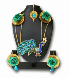 Buy The Peacock Studio Special Gotta Patti Flower Peacock Necklace Earrings Jewellery Set, easy online shopping
