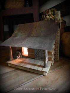 Primitive Lighted Log Cabin