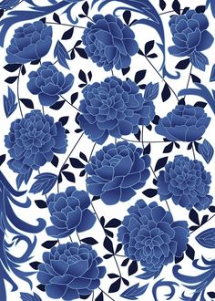 qīng-huā the cobalt blue flowers Art Print by Marta Olga Klara Room Wallpaper Designs, Foyer Wallpaper, Blue Backgrounds, Wallpaper Backgrounds, Wallpapers, Flower Prints, Flower Art, Flower Shower Curtain, White Floral Dress