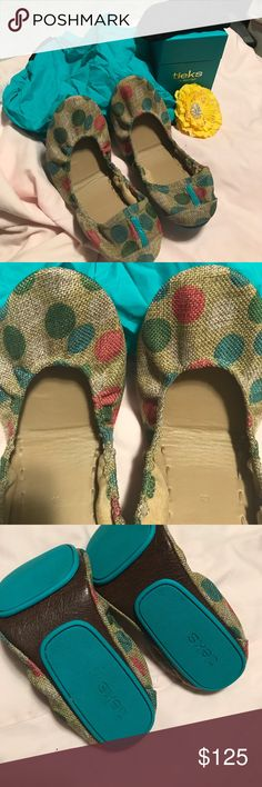 Polka dot foldable travel flats Aqua, pink , and green dots , very comfortable!! Tieks Shoes Flats & Loafers