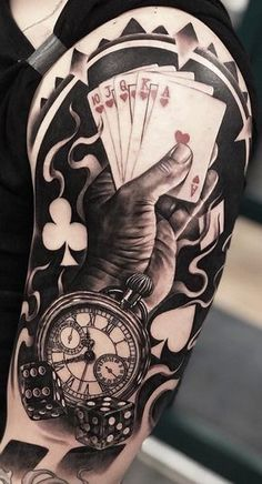 Our Website is the greatest collection of tattoos designs and artists. Find Inspirations for your next Clock Tattoo. Search for more Tattoos. Card Tattoo Designs, Clock Tattoo Design, Tattoo Sleeve Designs, Tattoo Clock, Upper Arm Tattoos, Leg Tattoos, Body Art Tattoos, Cool Tattoos, Places For Tattoos