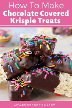 Chocolate Covered Rice Krispie Treats are an extra special twist on classic Rice Krispie squares. They're fun party snacks that are easy to make and perfect for customizing with your favorite colors and sweet goodies, like sprinkles or chopped nuts and more! Cookie Dough Recipes, Fudge Recipes, Snack Recipes, Dessert Recipes, Fruit Recipes, Cheesecake Recipes, Easy Snacks, Yummy Snacks, Easy Desserts