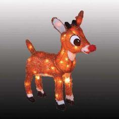 "RUDOLPH RED NOSED REINDEER 18"" Soft Tinsel Figurine 3D Blinking Nose Lights up"