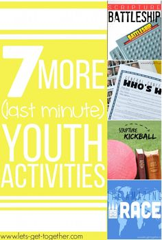 7 More Last Minute Youth Activities from Let's Get Together - list of everything you need for each activity and instructions. Could make great Family Home Evenings too! Great resource! #youthactivity #fhe