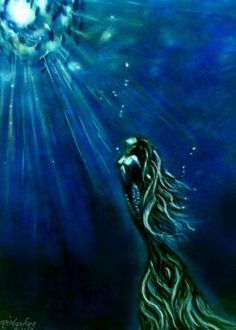 Into the Light Mermaid painting art print by Michaeline 8x10 inches