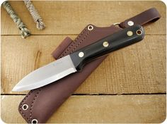 Knives By Maker :: LT Wright Handcrafted :: Genesis :: LT Wright Knives: Genesis (Scandi Grind) Fixed Blade Bushcraft Knife w/ Black Canvas Micarta Handle, Polished Finish - Leather Sheath