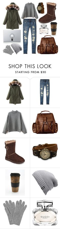 """Mona"" by goingdigi ❤ liked on Polyvore featuring Hollister Co., David King & Co., UGG, BillyTheTree, Free People, The North Face, L.K.Bennett, Gucci and Vinyl Revolution"