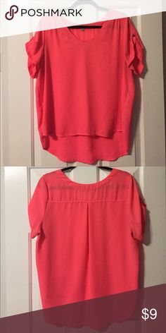 Neon Pink Chiffon Blouse Has a graceful v-neck, with a sheer structure. Gently worn. Great for work with a slight hi-lo effect from front to back. Lily Star Tops Blouses