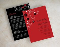 Hibiscus floral vine wedding invitations in red and black
