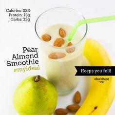 Pear Almond Smoothie: 1 scoop vanilla IdealShake mix, 8 oz almond milk, 1/2 pear, 1/2 banana, 1 tsp cinnamon, 1 tsp almond extract. Add ice and blend.