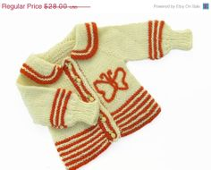 SALE 20% OFF Baby cardigan 0-6 month with butterfly
