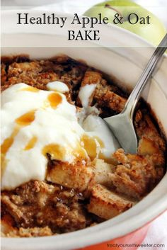 Healthy Oat and Apple Bake; Sweet, soft apples with a crunchy oat crust and a drizzle of sweet, sticky honey. A quick, but healthy dessert or breakfast treat.