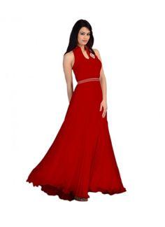 Colour Red Fabric Velvet, Brasso Inner Fabric Santoon Type Gown