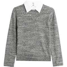 Steffen Schraut College Cotton and Wool Pullover found on Polyvore featuring tops, sweaters, maglie, grey, grey wool sweater, cotton pullovers, gray wool sweater, pullover sweater and wool pullover