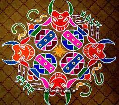 Mattu Pongal Rangoli Designs