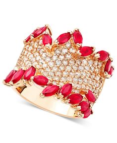 Rosa by EFFY Ruby (3-1/4 ct. t.w.) & Diamond (1-3/8 ct. t.w.) Ring in 14k Rose Gold - Rings - Jewelry & Watches - Macy's