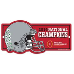 Ohio State Buckeyes 2015 College Football Playoffs National Champions Red Helmet Sign