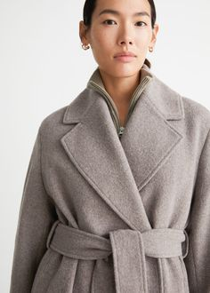 Belted Voluminous Wool Coat - Mole - Woolcoats - & Other Stories GB