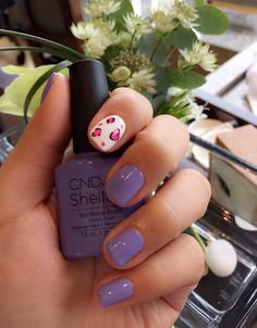 CND Shellac manicure using the Garden Muse Collection's Wisteria Haze and floral nail art