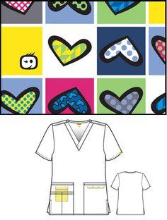 V-neck Print Top 'Hearts Squared' Womens Scrubs, Hearts, V Neck, Top, Philippines, Crop Shirt, Shirts