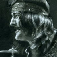 John Bonham, drummer for Led Zeppelin by request for: Memories In Music charcoal and gouache drawing on illustration board photo ref (from Song Remains . John Paul Jones, John Bonham, The Band, Great Bands, Jimmy Page, Robert Plant, Hard Rock, Arte Led Zeppelin, Heavy Metal