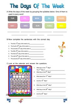 Questions about days of the week. Vocabulary: Days of the week; days, of, the, week English Reading, English Book, Learn English, English Class, English Adjectives, English Grammar, English Teaching Materials, Teaching English, 1st Grade Math Worksheets