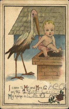 Adorable vintage stork with baby announcement