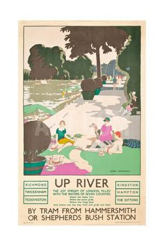 Up River, a London Transport Poster, 1926 Giclee Print by George Sheringham at Art.com