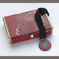 An art deco diamond, enamel, platinum and eighteen karat gold box, Lacloche Frères,