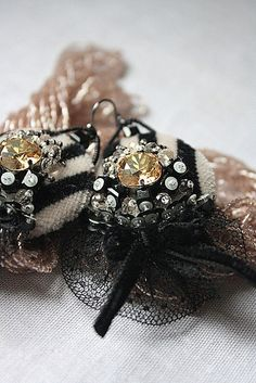Art Deco style Hand embroidered Earrings by IrenaGasha on Etsy