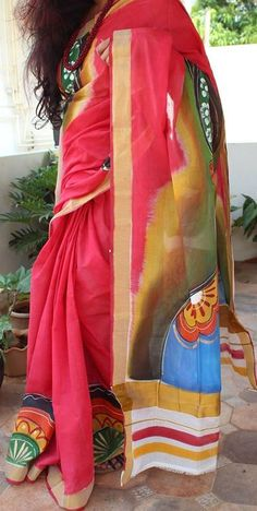 Coral red Kasavu Kerala Cotton with Kathakali Handpainted work