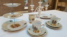 Vintage Cake Stands, Tea Sets Vintage, Tiered Cakes, Table Settings, Place Settings, Tablescapes
