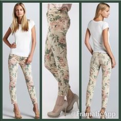 """Current/Elliot floral """"Stiletto Haystack"""" Gorgeous Current/Elliot skinny jeans in excellent condition! The inseam measures 27"""" long. Shirt is also for sale in a separate listing ✨Open to offers!✨ Current/Elliott Pants Skinny"""