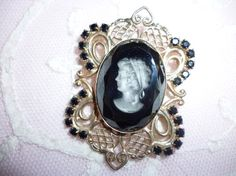 Beautiful Vintage Cameo Brooch In Gold Toned by nanciesvintagenest, $19.00