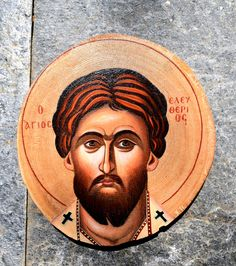 Handpainted Icon on chestnut wood 20cm Byzantine Icons, Saints, Hand Painted, Traditional, Portrait, Canvas, Wood, Art, Tela