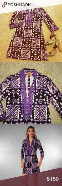 Tory Burch  tunic mini dress Tory Burch IKAT tunic mini dress. Ethnic prints in purple, taupe and white. EUC Tory Burch Dresses Mini