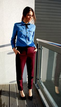 bow tie, denim shirt and burgundy pants