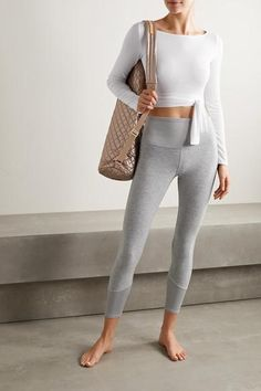 Alo yoga cropped tie-front stretch-modal jersey top in white; mz wallace matt leather-trimmed metallic quilted shell yoga mat bag in pink; Wish list and beautiful styles from NET-A-PORTER for designer shoes, bags, and cloth! Ballet Fashion, Yoga Fashion, Fitness Fashion, Fashion Outfits, Ballet Workout Clothes, Leggings, Mode Yoga, Alo Yoga, Yoga Wear