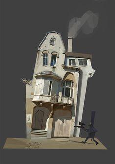 ArtStation - Gone 2 decor, salah halli Building Illustration, House Illustration, Illustrations, Digital Illustration, Cartoon Background, Animation Background, Art Background, Environment Concept Art, Environment Design
